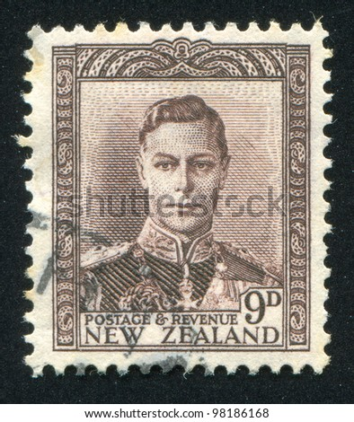 NEW ZEALAND - CIRCA 1944: A stamp printed by New Zealand, shows King George VI, circa 1944
