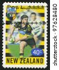 NEW ZEALAND - CIRCA 1999: A stamp printed by New Zealand, shows New Zealand U-Bix Rugby Super, Hurricanes, circa 1999 - stock photo