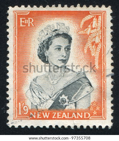 NEW ZEALAND - CIRCA 1953: A stamp printed by New Zealand, shows shows queen Elizabeth II, circa 1953 - stock photo