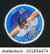 NEW ZEALAND - CIRCA 1996: A stamp printed by New Zealand, shows Swimmer at the Olympic Games in Atlanta, circa 1996 - stock photo
