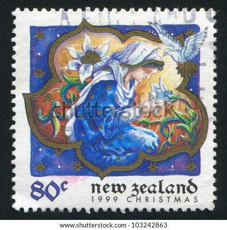 NEW ZEALAND - CIRCA 1999: A stamp printed by New Zealand, shows Virgin Mary, circa 1999