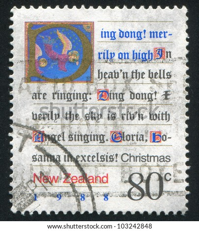 NEW ZEALAND - CIRCA 1988: A stamp printed by New Zealand, shows Written Christmas Carol and a Picture of Angels, circa 1988 - stock photo