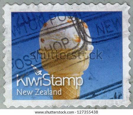 NEW ZEALAND - CIRCA 2011: A stamp printed in New Zealand dedicated Kiwi Ice Cream, shows Hokey Pokey Ice Cream, circa 2011 - stock photo