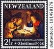 "NEW ZEALAND - CIRCA 1968: A stamp printed in New Zealand from the ""Christmas "" issue shows adoration of the shepherds by Gerard van Honthorst, circa 1968. - stock photo"