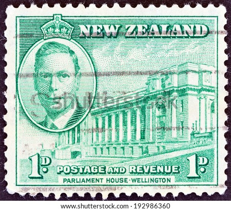 "NEW ZEALAND - CIRCA 1946: A stamp printed in New Zealand from the ""Peace Issue "" issue shows King George VI and Parliament House, Wellington, circa 1946."
