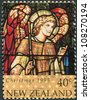 NEW ZEALAND - CIRCA 1995: A stamp printed in New Zealand, is dedicated to Christmas, Stained glass windows, depicts Archangel Gabriel, circa 1995 - stock photo