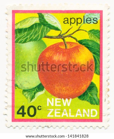 NEW ZEALAND - CIRCA 1983: A stamp printed in New Zealand, shows apples, circa 1983 - stock photo