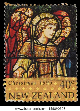 NEW ZEALAND - CIRCA 1995: A stamp printed in New Zealand shows Christmas and Archangel Gabriel, circa 1995