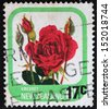 NEW ZEALAND - CIRCA 1975: A stamp printed in New Zealand shows Cresset, series devoted to roses, circa 1975 - stock photo