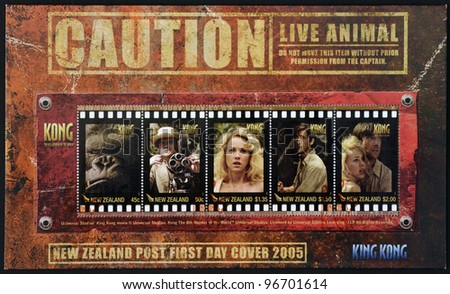 NEW ZEALAND - CIRCA 2005: A stamp printed in New Zealand shows film King Kong, circa 2005