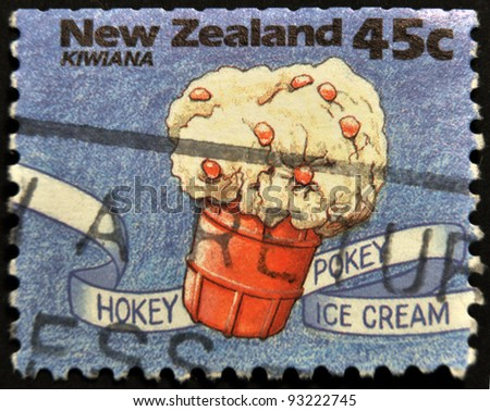 NEW ZEALAND - CIRCA 1994: A stamp printed in New Zealand shows hokey pokey ice cream, Kiwiana series, circa 1994 - stock photo