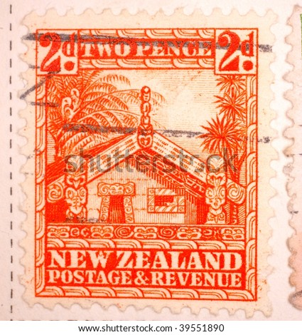 NEW ZEALAND - CIRCA 1946: A stamp printed in New Zealand shows image of a Mauri home, series, circa 1946