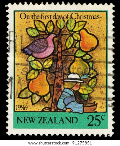 NEW ZEALAND - CIRCA 1986: A stamp printed in New Zealand shows on the first day of Christmas, circa 1986 - stock photo