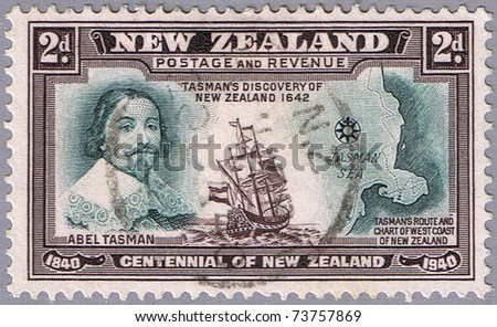 NEW ZEALAND - CIRCA 1940: A stamp printed in New Zealand shows portrait of Abel Tasman, series, circa 1940