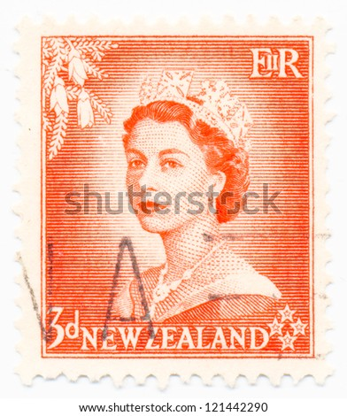NEW ZEALAND - CIRCA 1954: A stamp printed in New Zealand shows portrait of Queen Elizabeth II, circa 1954