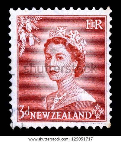 "NEW ZEALAND - CIRCA 1953: A stamp printed in New Zealand shows Portrait of Queen Elizabeth II, without inscriptions, from the series ""Queen Elizabeth II"", circa 1953."