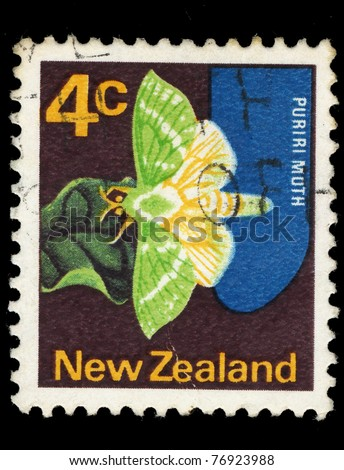NEW ZEALAND - CIRCA 1970: A stamp printed in New Zealand shows Puriri moth butterfly, circa 1970
