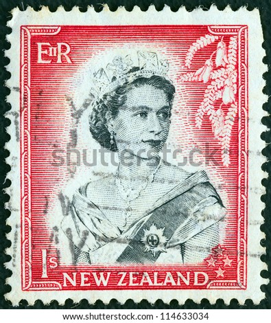 NEW ZEALAND - CIRCA 1953: A stamp printed in New Zealand shows Queen Elizabeth II, circa 1953. - stock photo