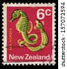 NEW ZEALAND - CIRCA 1970: A stamp printed in New Zealand shows Seahorses fish - Hippocampus, series, circa 1970 - stock photo