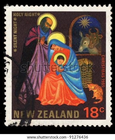 NEW ZEALAND - CIRCA 1985: A stamp printed in New Zealand shows 'Silent Night, Holy Night' by Joseph Mohr, circa 1985.