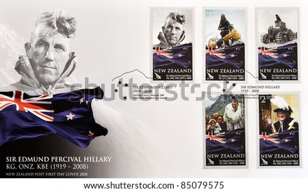 NEW ZEALAND - CIRCA 2008:  A stamp printed in New Zealand shows Sir Edmund Percival Hillary, first person to climb Everest, post firs day cover, circa 2008 - stock photo