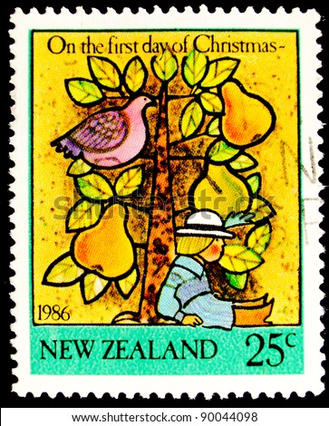NEW ZEALAND - CIRCA 1986: A stamp printed in New Zealand shows The Holy Night by Maratta, circa 1986 - stock photo