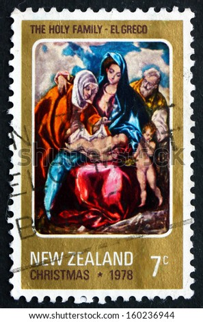 NEW ZEALAND - CIRCA 1978: a stamp printed in the New Zealand shows Holy Family, Painting by El Greco, Christmas, circa 1978 - stock photo