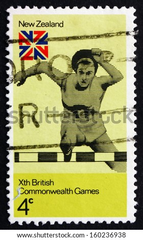 NEW ZEALAND - CIRCA 1974: a stamp printed in the New Zealand shows Hurdles, 10th British Commonwealth Games, Christchurch, circa 1974 - stock photo