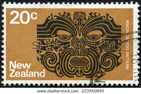 NEW ZEALAND - CIRCA 1971: a stamp printed in the New Zealand shows Maori Tattoo Pattern, circa 1971 - stock photo