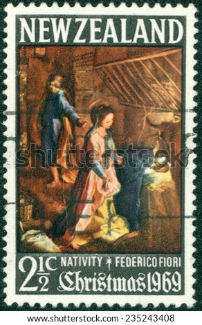 NEW ZEALAND - CIRCA 1969: a stamp printed in the New Zealand shows Nativity, Painting by Federico Fiori, Christmas, circa 1969 - stock photo