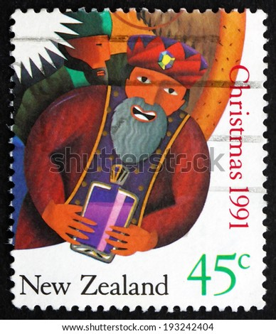 NEW ZEALAND - CIRCA 1991: a stamp printed in the New Zealand shows Wise Man, Gift, Christmas, circa 1991 - stock photo