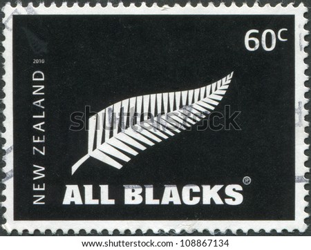NEW ZEALAND - CIRCA 2010: Postage stamps printed in New Zealand, shows the emblem of All Blacks - New Zealand national rugby union team, circa 2010 - stock photo