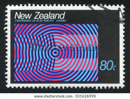 NEW ZEALAND - CIRCA 1988: stamp printed by New Zealand, shows abstraction emblem Hydroelectric, circa 1988