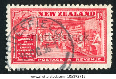 NEW ZEALAND - CIRCA 1936: stamp printed by New Zealand, shows Butter Industry, circa 1936