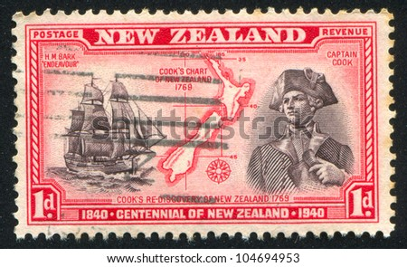 NEW ZEALAND - CIRCA 1940: stamp printed by New Zealand, shows Captain Cook, His Map of New Zealand, 1769, H.M.S. Endeavour, circa 1940