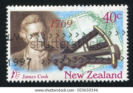 NEW ZEALAND - CIRCA 1997: stamp printed by New Zealand, shows Captain, James Cook, Map and Octant, circa 1997