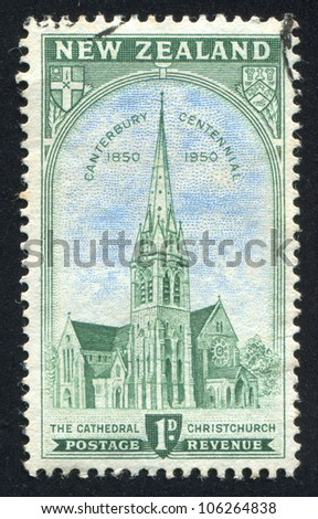 NEW ZEALAND - CIRCA 1950: stamp printed by New Zealand, shows Cathedral at Christchurch, circa 1950 - stock photo