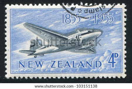 NEW ZEALAND - CIRCA 1955: stamp printed by New Zealand, shows Douglas DC-3, circa 1955