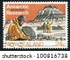 NEW ZEALAND - CIRCA 1984: stamp printed by New Zealand, shows geology research, men near mountain, circa 1984 - stock photo