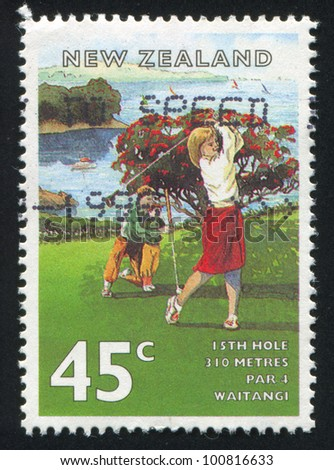 NEW ZEALAND - CIRCA 1995: stamp printed by New Zealand, shows Golf Courses, Waitangi, circa 1995