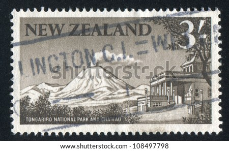 NEW ZEALAND - CIRCA 1963: stamp printed by New Zealand, shows Ngauruhoe volcano, Tongariro National Park, circa 1963