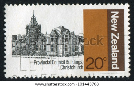 NEW ZEALAND - CIRCA 1979: stamp printed by New Zealand, shows Provincial Council Buildings, Christchurch, circa 1979 - stock photo