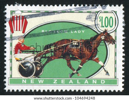 NEW ZEALAND - CIRCA 1996: stamp printed by New Zealand, shows  Racehorse and the cart on the hippodrome, Blossom Lady, circa 1996