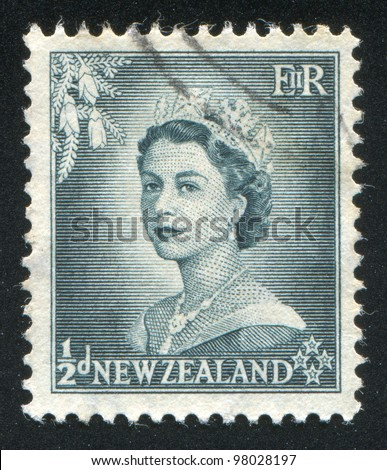 NEW ZEALAND - CIRCA 1953: stamp printed by New Zealand, shows shows queen Elizabeth II, circa 1953