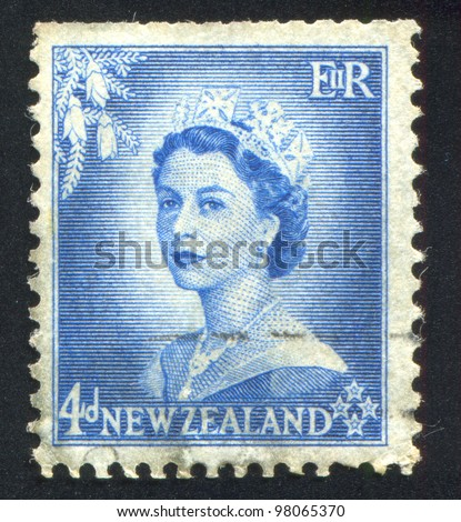 NEW ZEALAND - CIRCA 1953: stamp printed by New Zealand, shows shows queen Elizabeth II, circa 1953 - stock photo