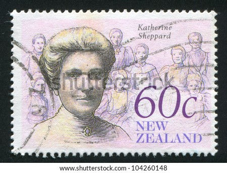 NEW ZEALAND - CIRCA 1990: stamp printed by New Zealand, shows The Achiever, Katherine Sheppard, social worker, circa 1990