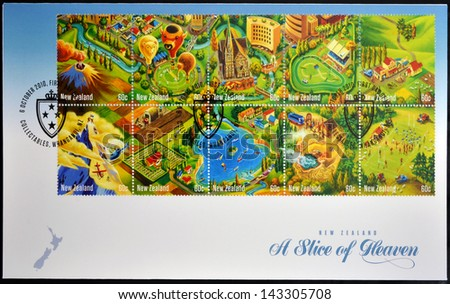 NEW ZEALAND - CIRCA 2010: Stamps printed in New Zealand shows a slice of heaven, circa 2010 - stock photo
