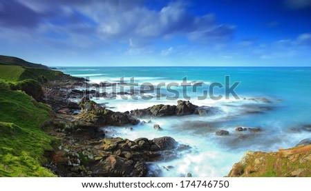 New Zealand coastline, Otago, Moeraki, New Zealand - stock photo
