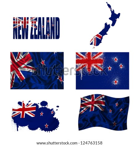 New Zealand flag and map in different styles in different textures - stock photo