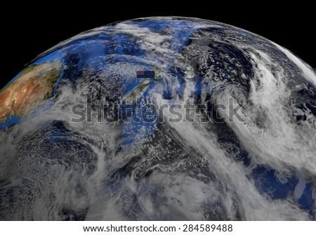 New Zealand flag on pole on earth globe illustration - Elements of this image furnished by NASA - stock photo
